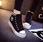 Ladies Girls High Top LaceUp Chuckie Style Platform Sneakers Tennis Shoes with 7 Logo